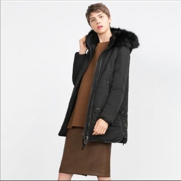 3bb83bf6d Zara black hooded parka coat sm